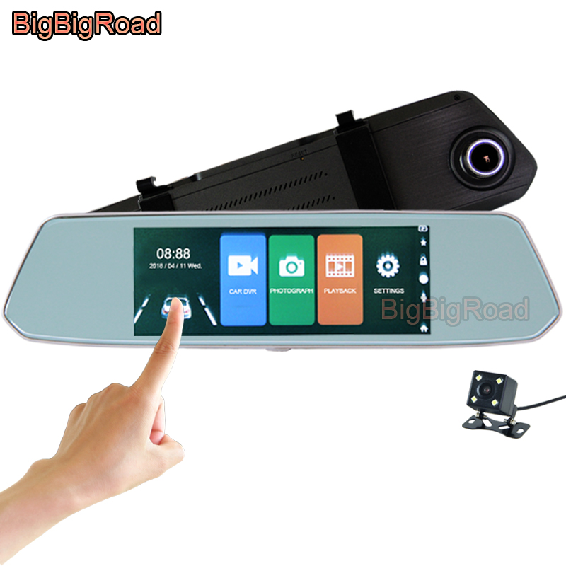 BigBigRoad For mitsubishi ASX outlander pajero galant l200 lancer 9 10 Car DVR 7 Inch Touch Screen Rear View Mirror Dash Camera наклейки len mitsubishi asx lancer mitsubishi outlander pajero mitsubishi l200
