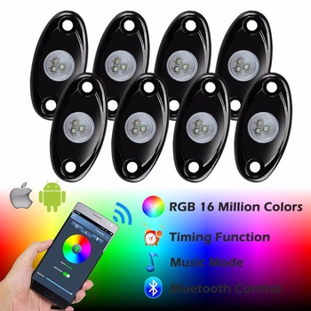 2018 8 Pods Rock light Multi-Color RGB LED Rock Light Kit with Bluetooth Controller ,Timing Function, Music Mode for Cars Truck