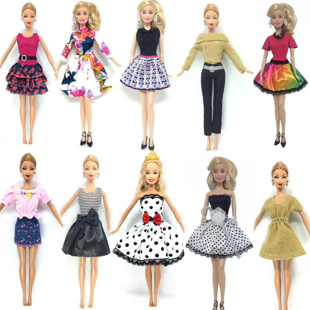 NK 10 Set/Lot  Princess Doll Dress Noble Party Gown For Barbie Doll Fashion Design Outfit Best Gift For Girl' Doll hotsale new 20 pcs set handmade party 12 clothes fashion mixed style dress 8 pair accessories shoes for barbie doll best gift girl toy