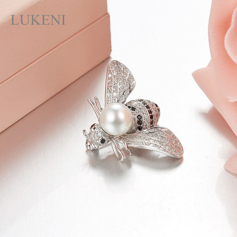 LUKENI New Design Personality 925 Sterling Silver Inlay Zircon Fashion Bee Pearl Brooches For Women Sweater Coat Accessories