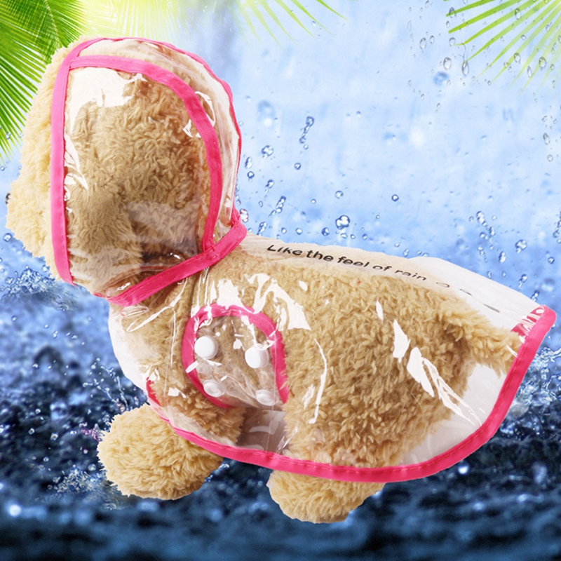 Transparent Waterproof Pet Raincoat With Hood Lovely Dog Clothes For Pet Dogs Supplies Cloak Costumes Raincoat Coat