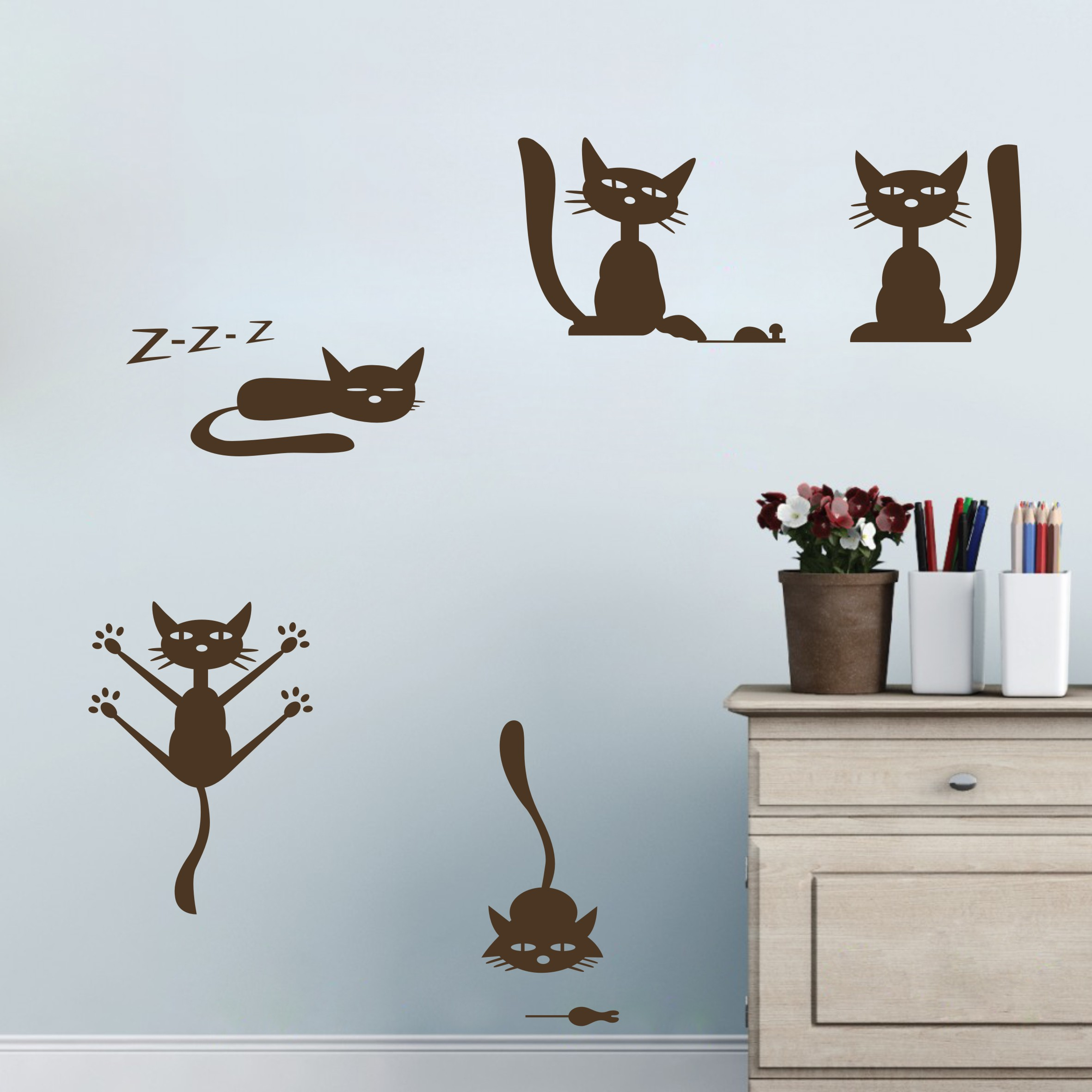 Modern cat wall decals animal art decoration for girls for Animal wall decoration