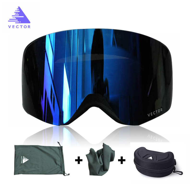 VECTOR Brand Ski Goggles Men Women Double Lens UV400 Anti-fog Skiing Eyewear Snow Glasses Adult Skiing Snowboard Goggles 100% brand barstow retro motorcycle glasses anti fog wind skiing glasses mtb road eyewear tear off film cycling glasses men