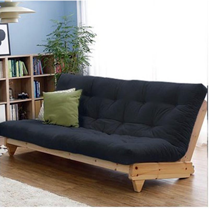 Nordic Folding Sofa Bed Solid Wood Japanese Fabric