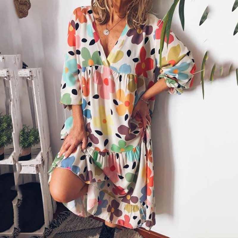 Boho сексуальные Клубные пляжные желтые Большие размеры женские миди платья летние прямые цветочные принты женские модные 2019 синие платья