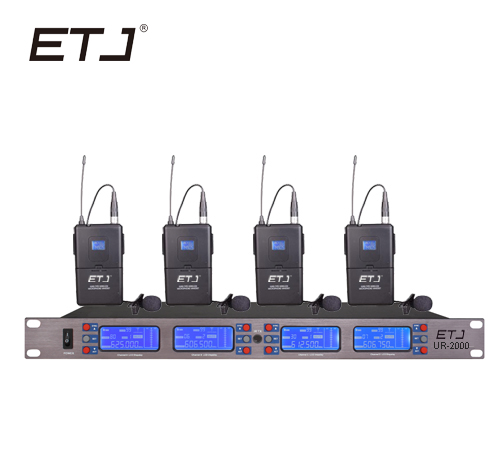 ETJ Brand Professional UHF Wireless Microphone 4 Transmitter Headset Stage Performance Wireless Microphone System UR2000 in Microphones from Consumer Electronics