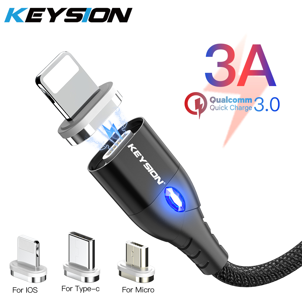 KEYSION Magnetic Cable Micro USB Type C For iPhone Lightning Cable 1M 3A Fast Charging