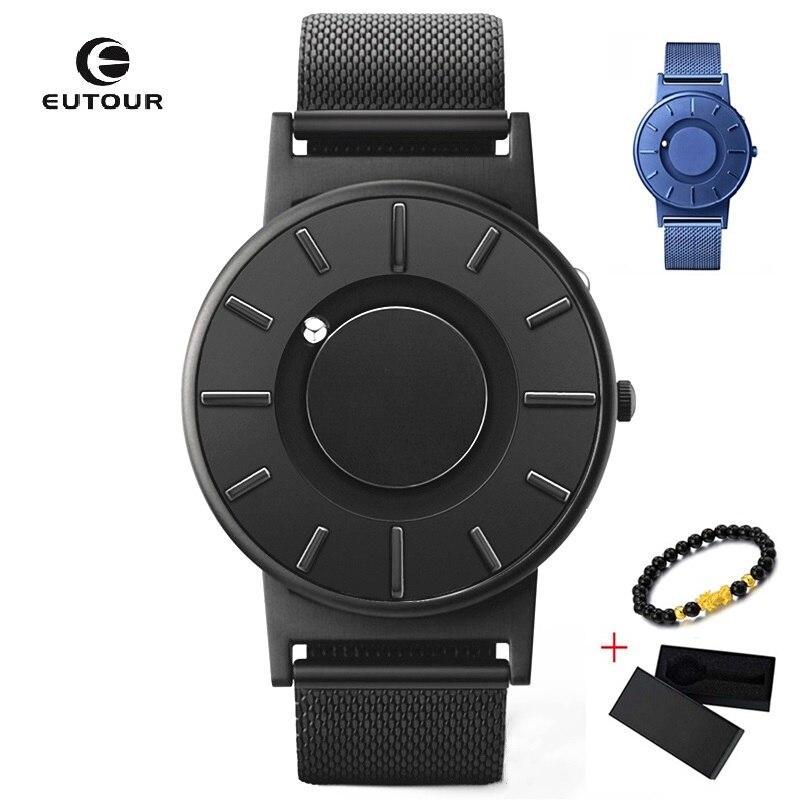 EUTOUR Magnetic Watch Ball Show Men Waterproof Luxury Mens Wristwatches Sport Stainless Steel Dropshipping Quartz Wrist