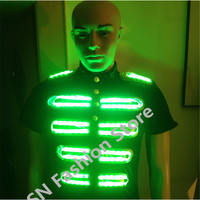 DX001 Men robot colorful LED lights luminous costume Illuminated suit dj disco party supplies festival ballroom dance clothes