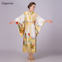 Yellow Japanese traditional kimono woman bathrobe kimono vintage clothing dress Japan style national stage cosplay costumes