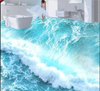3 D Flooring Custom Of PVC Wall Paper Beach Wave Ground Stickers 3 D Background Wall