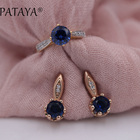 PATAYA New Arrivals 585 Rose Gold Jewelry Sets Dark Blue Round Natural Zirconia Earrings Ring Set Women Wedding Romantic Jewelry