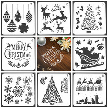 Merry Christmas Design Stencils for DIY Scrapbooking Plastic Handmade Cake Template Crafts Diary Decor Painting Spray Tool Card merry christmas trees sticker painting stencils for diy scrapbooking stamps home decor paper card template decoration album