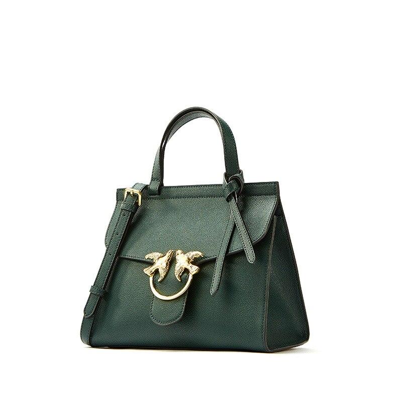 New Positive trapezoidal women leather handbags Goat Print Calfskin Shoulder Bag Double Bird Lock Bow Decoration Messenger Bag