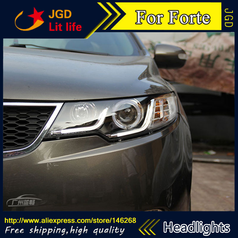 Free shipping ! Car styling LED HID Rio LED headlights Head Lamp case for Ford Forte 2010-2013 Bi-Xenon Lens low beam  free shipping car styling led hid rio led headlights head lamp case for chevrolet camaro bi xenon lens low beam