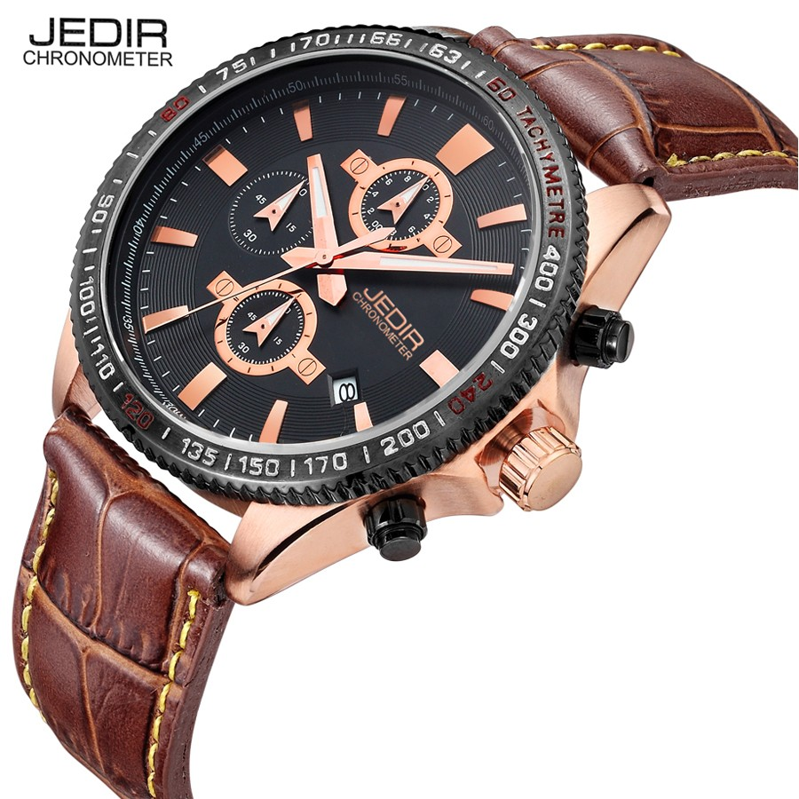 JEDIR Brand Leather Quartz Watch Hot Military Army High Quality Chronograph Men Wristwatch Sports Casual Quartz-Watch 2017 jedir 3010 male quartz watch