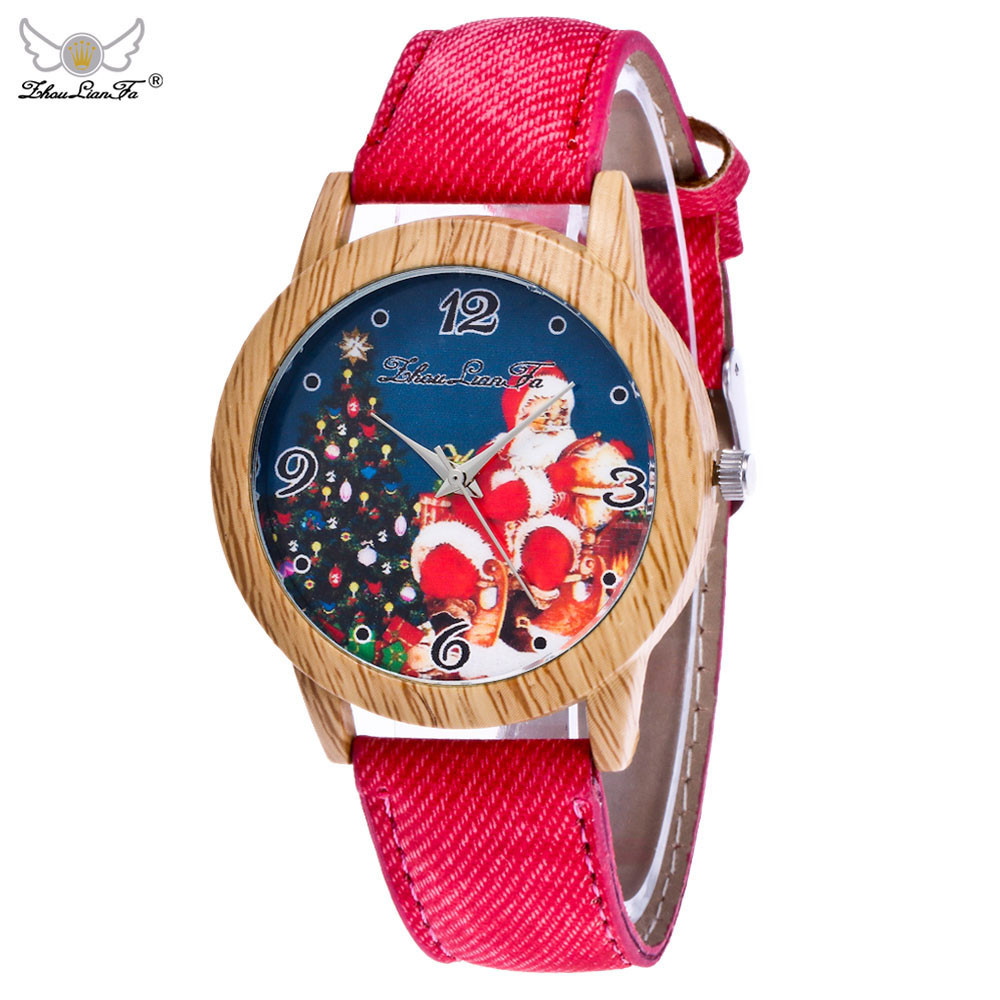 Christmas Unisx Watches Women Fashion Watch 2019 Nice Top Brand Luxury Denim Fabric  Wood Watch Relogio Masculino #BL2(China)