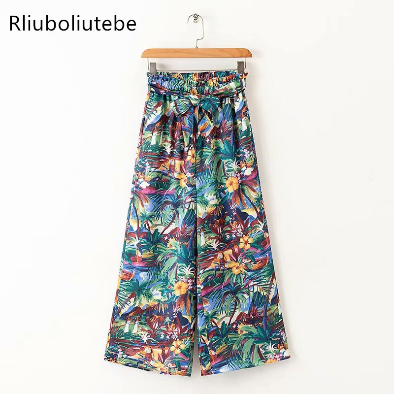 ruffles high waist pleated   wide     leg     pants   women with belt bow casual lace up summer loose trousers flower palazzo   pants