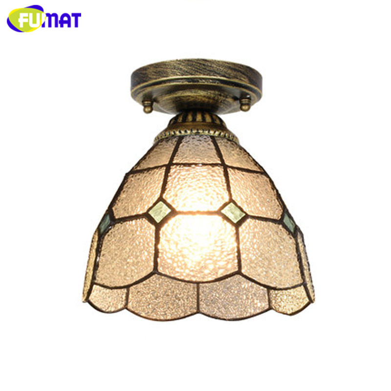 FUMAT ceiling lights Tiffany lamp Stained Glass luminaria plafondlamp LED Lighting Fixture E27 8 Inch loft Home deco shell Lamps in Ceiling Lights from Lights Lighting