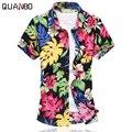 QUANBO Brand Clothing 2016 Лето Новое Прибытие Мода Повседневная Мужская С Коротким рукавом Цветочные Рубашки 5XL 6XL Плюс размер гавайской рубашке