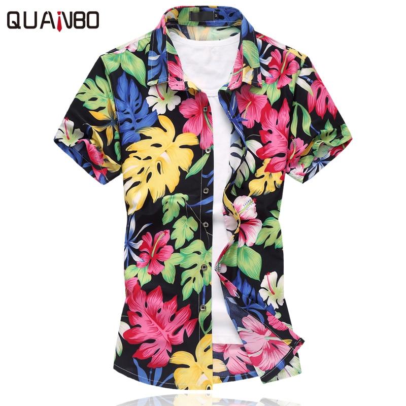 QUANBO Summer Casual Mens Short sleeve hawaiian shirt