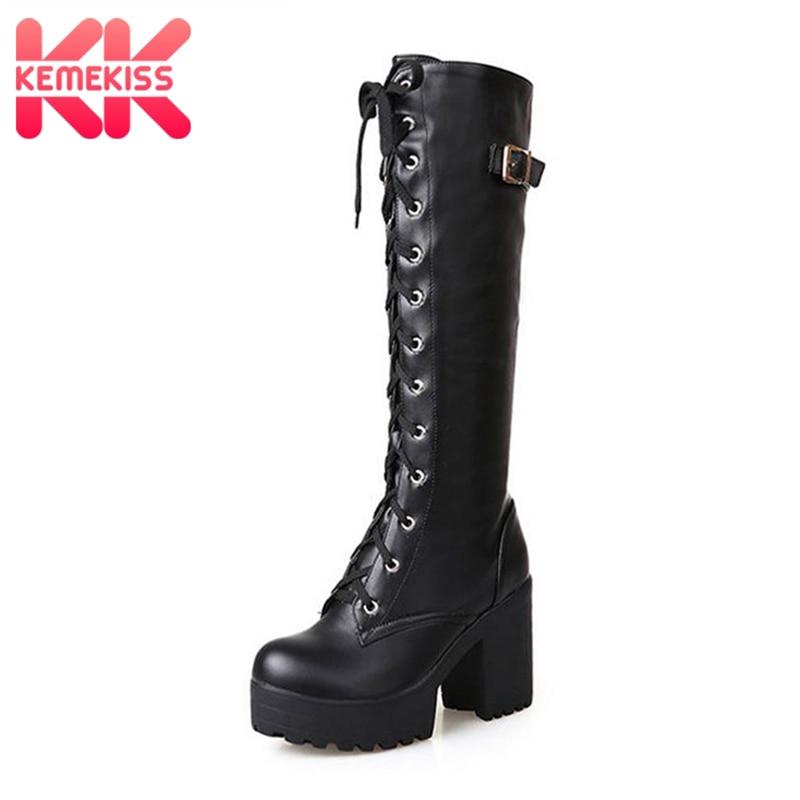 KemeKiss 2018 Plush size 34-43 Sexy high heels Knee-High Boots Woman Platform Winter women's Shoes add Fur Snow Boot footwear стоимость