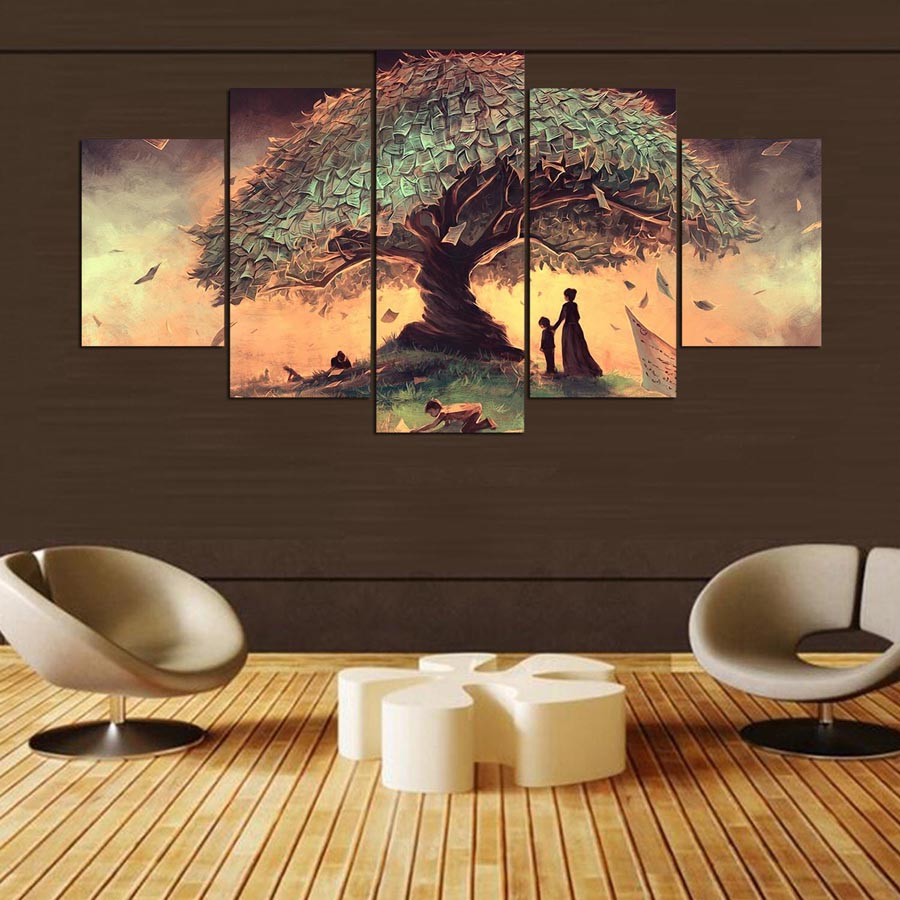 5 Panel Wishing Tree Modern Canvas Wall Painting Abstract Modular Picture Hoom Decoration for Living Room HD Print no frame