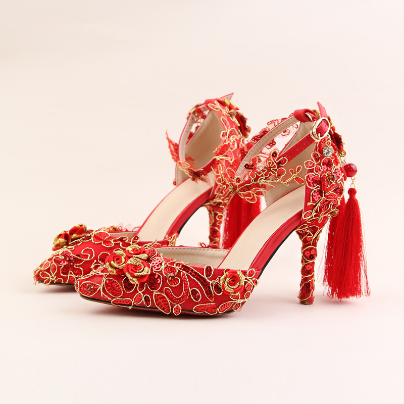 ФОТО Red leather retro Bridal crystal high heeled Pumps stiletto sandals wedding women shoes 2017 new summer Original Fashion Shoes