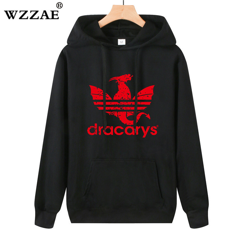 2019 Dracarys Vintage Style Hoodie Game Of Thrones Daenerys Drogon Fire Printed Hoody Sweatshirt Men Spring Thin Jumper Pullover