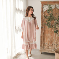 Sweet Fashion White Lace Women's Long Nightgowns Summer Half Sleeve Soft Viscose Loose Female Sleepwear Plus Size