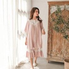 달콤한 패션 화이트 레이스 여자의 긴 잠옷 여름 절반 슬리브 부드러운 viscose 느슨한 여성 잠옷 플러스 크기