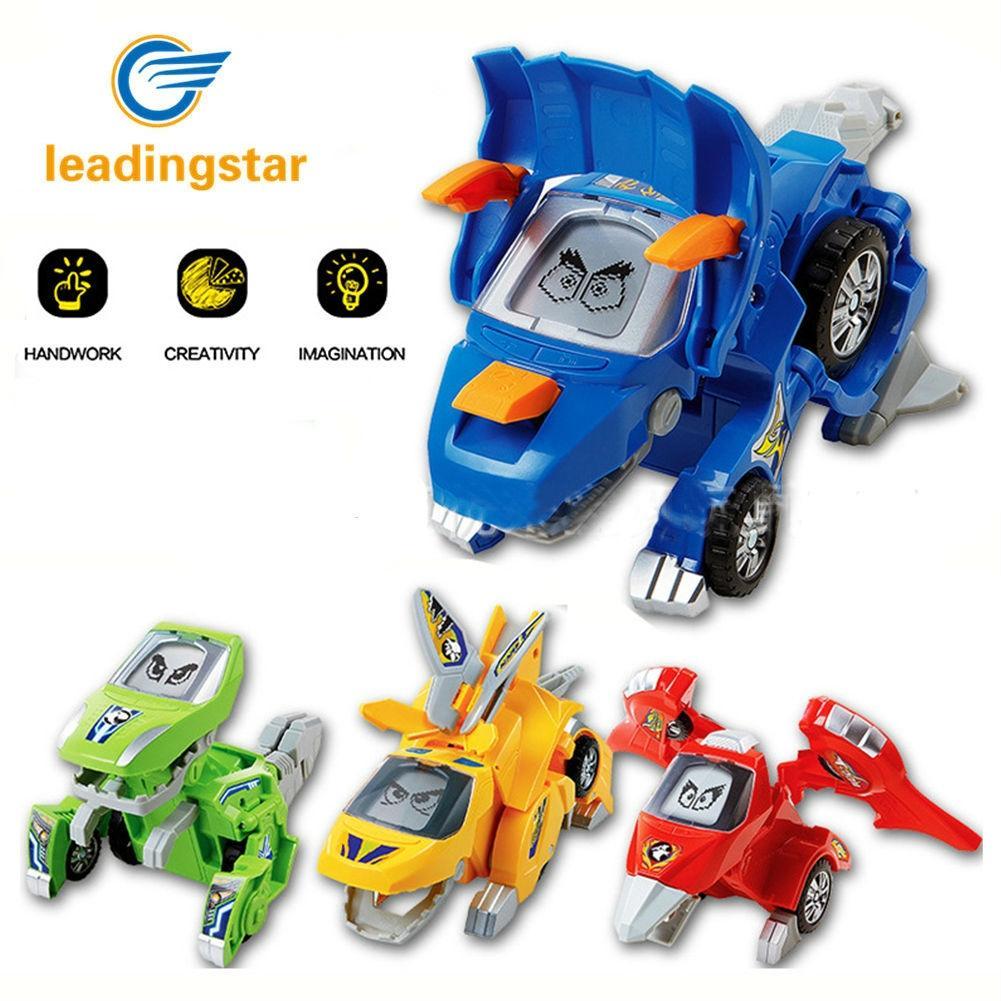 LeadingStar Deformed Dinosaur Car Creative Transformation Electric Robots Trucks Lights Music Toys Gifts for Children ZK35 creative cartoon 3d electric music