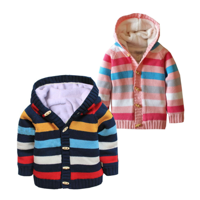 Children's Hooded Thick Sweater 12M to 4T Cotton striped Single Breasted Sweater Autumn Winter Baby Boy Girl Children's Clothing