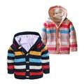 Camisola das crianças Com Capuz Grosso 12 M a 4 T de Algodão listrado Camisola Único Breasted Outono Inverno Bebê Menino Menina roupas para crianças