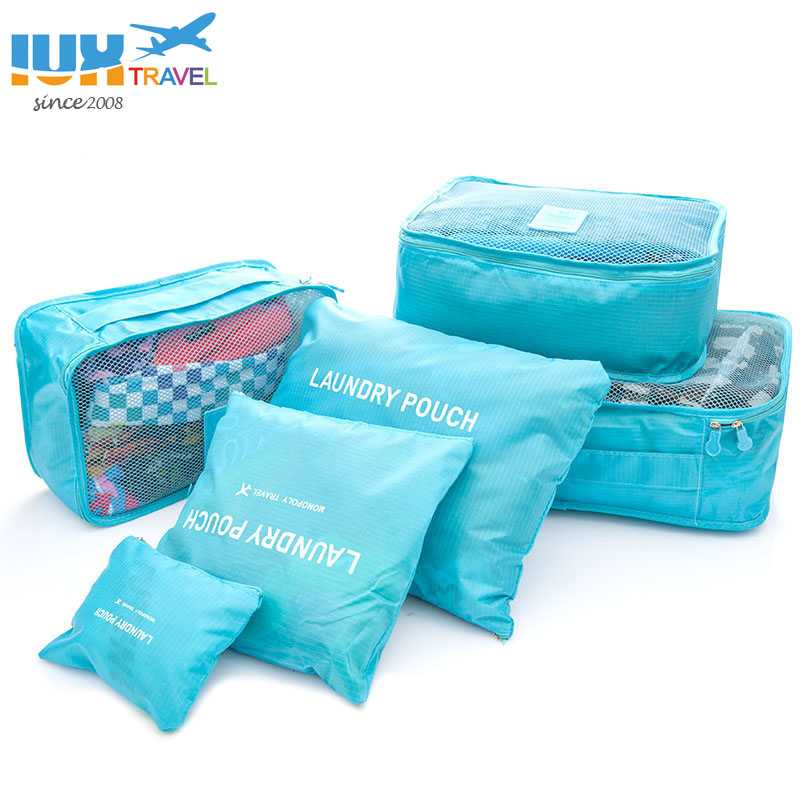 2018 6 pcs/ensemble Hommes et Femmes Bagages Voyage Sacs Emballage Cubes Organisateur De Mode Double Fermeture Éclair Étanche Polyester Sac En Gros
