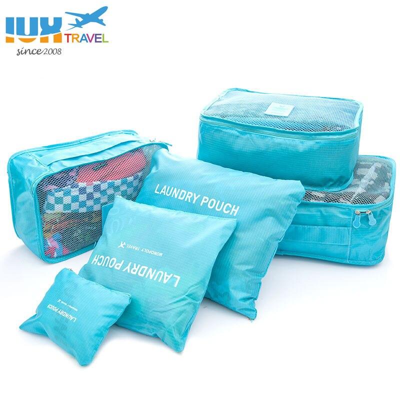2018 6 unids/set hombres y mujeres bolsas de viaje, equipaje cubos de embalaje organizador de cremallera doble bolsa de poliéster impermeable al por mayor