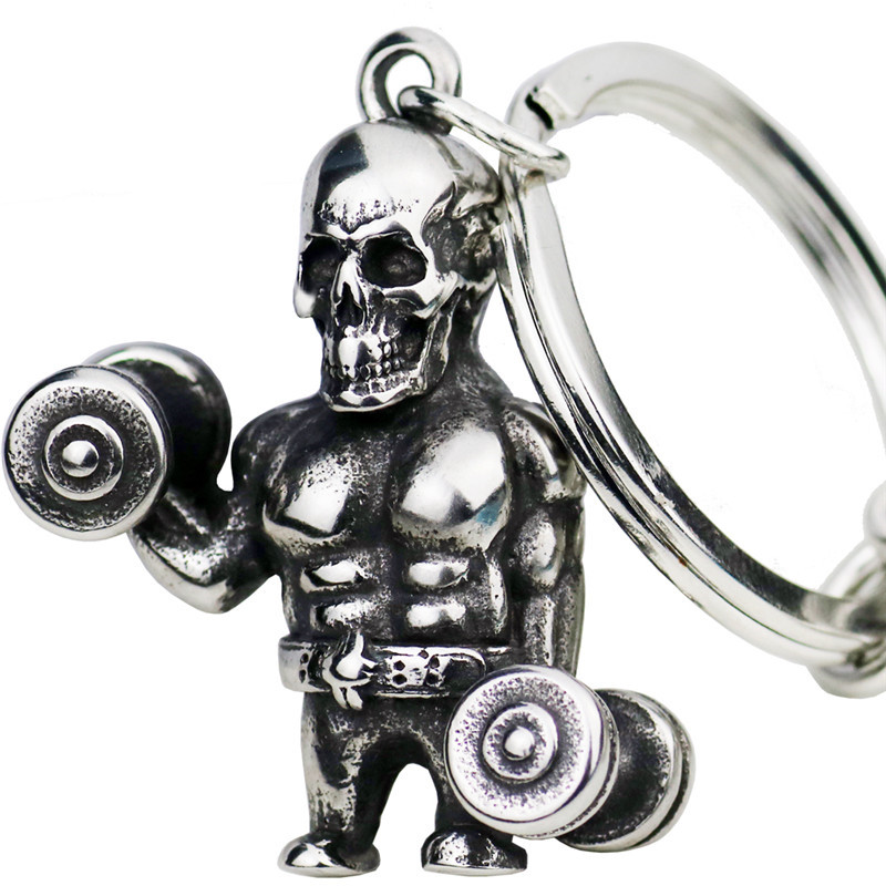 Skull Dumbbell Keychain Stainless Steel High Polished Hold Barbell Hip Hop Sports Car Key Gym Wallet Jewelry Graduation Gifts