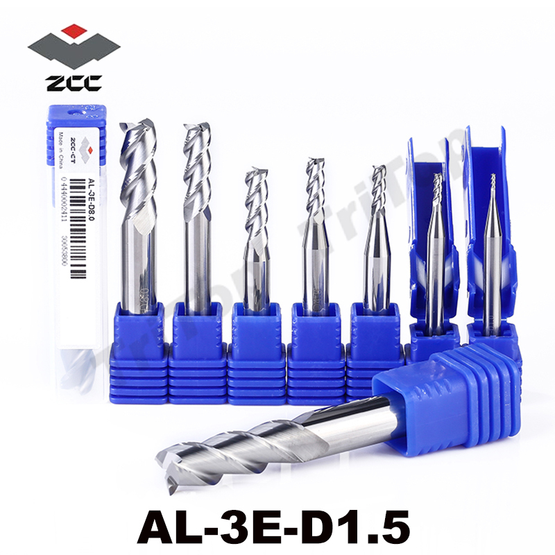 5pcs/lot ZCC.CT AL-3E-D1.5 3 flute flattened with straight shank solid carbide cnc milling 1.5mm end mill for aluminum alloy high precision machining zcc ct al 3e d20 0 solid carbide 3 flute flattened cnc end mill 20mm straight shank milling cutter