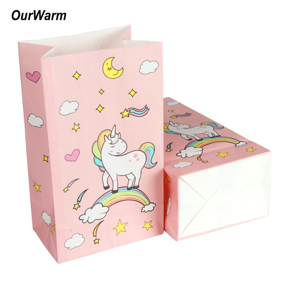 Paper Gift Bags Wholesale Us 30 8 20 Off Ourwarm 120pcs Pink Candy Bag For Unicorn Party Paper Gift Bags Baby Shower Birthday Wedding Candy Box Supplies Wholesale In Gift