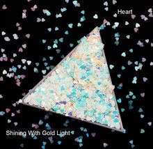10g/pack, Rhombus/Hexagon/Heart/Round/Triangle/Star Sequins, Iridescent Rainbow Shining Slice 3D Glitters Paillettes(China)