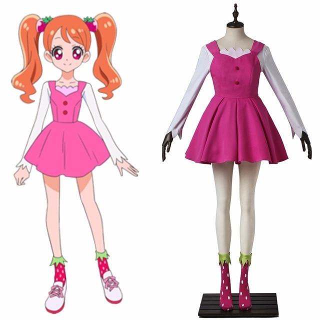 Японского аниме kirakira Довольно вылечить La Mode вылечить Whip Косплэй костюм платье праздничное платье для девочки Детский костюм для вечеринок l0516