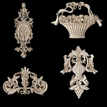 Vintage Floral Carved Wood Carved Corner Applique Wall Door Cabinet Furniture Decorative Figurines Wood Appliques for Furniture