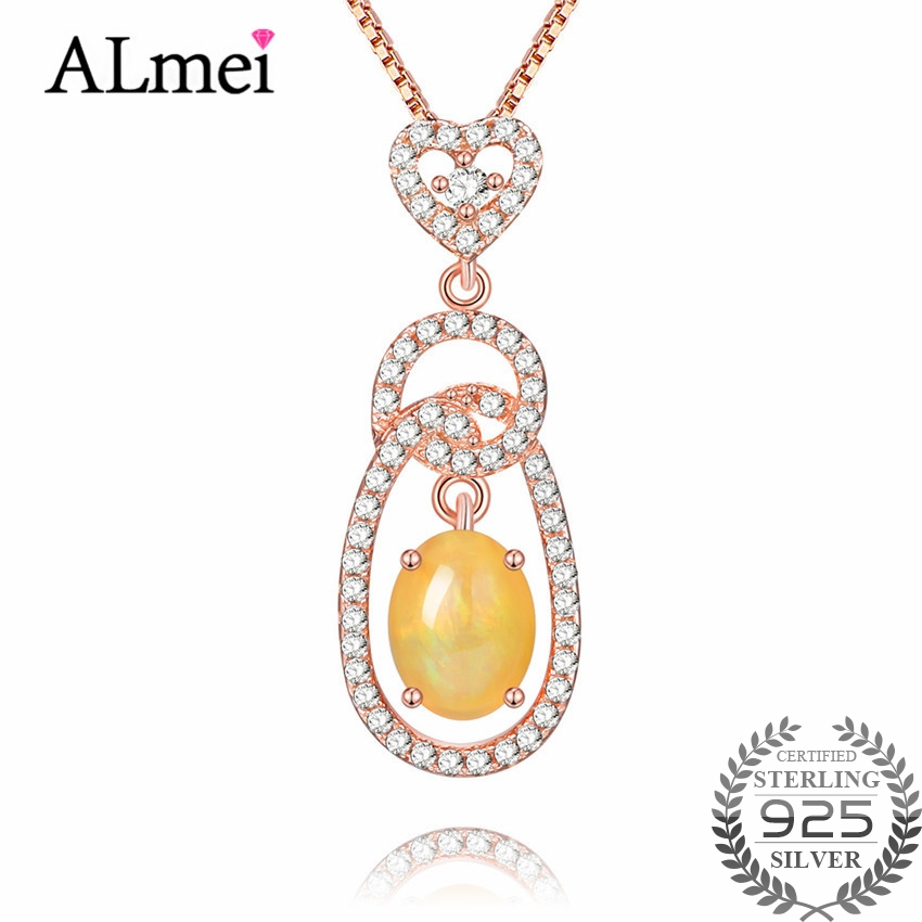 Almei Female 0.6ct Opal Pendants Necklace Solid 925 Sterling Silver Rose Gold Color Fine Jewelry Collares with Chain Box CN024Almei Female 0.6ct Opal Pendants Necklace Solid 925 Sterling Silver Rose Gold Color Fine Jewelry Collares with Chain Box CN024