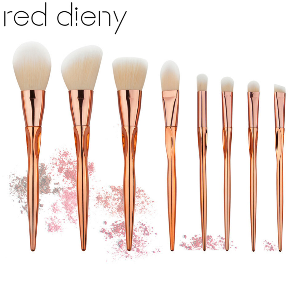 8PCS Heart Shape Rosegold Makeup Brush Set Pro Foundation Powder Contour Eyeshadow Blush Crease Concealer Makeup Brushes Kits heart shape brush stand brush holder