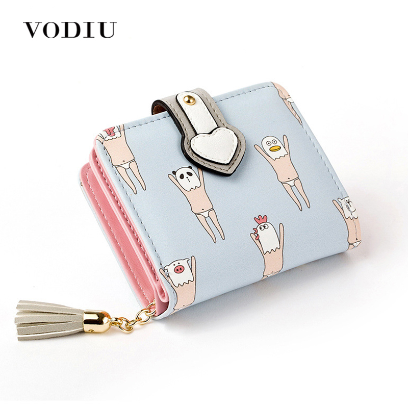 2017 Korean Cute Anime Cat Leather Trifold Hasp Mini Wallet Women Small Clutch Female Purse Brand Coin Card Holder Dollar Price women cute cat wallet small zipper girl wallet brand designed pu leather women coin purse female card holder wallet