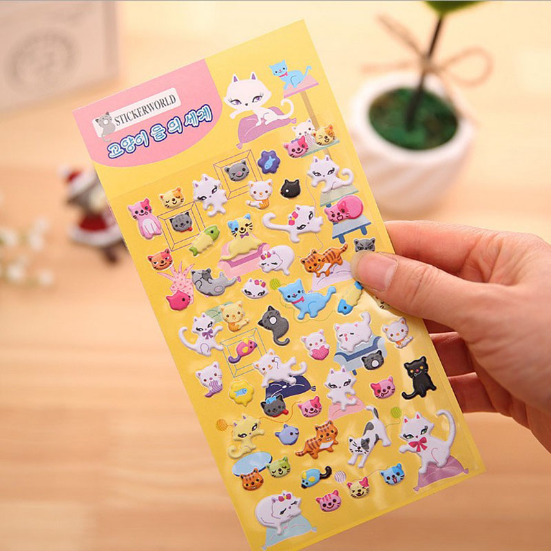 Lovely Miss Cat Perspective Puffy Sticker Book Stickers Decorative Stickers
