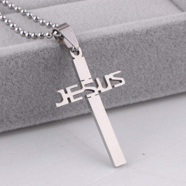 50pcs lot JESUS cross pendant necklaces bead chain for men 316L Stainless Steel necklace wholesale