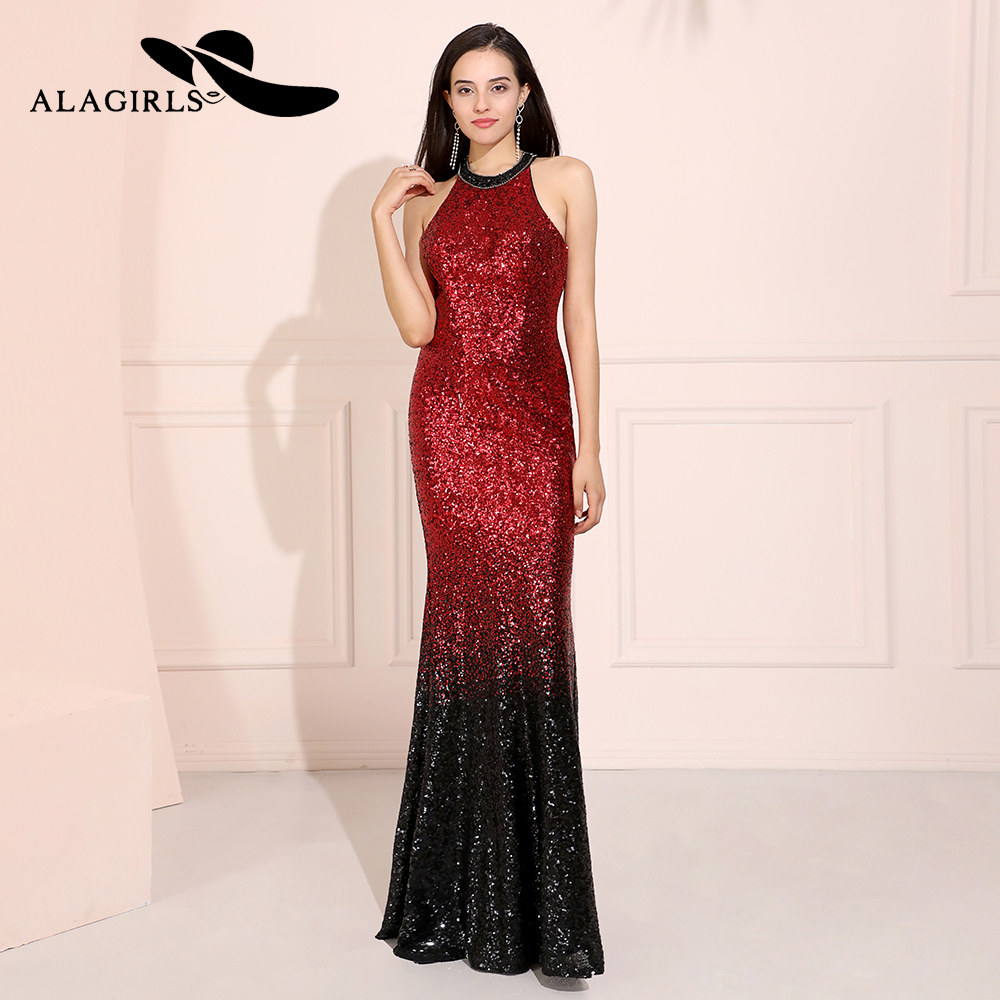 Alagirls Gradient Colors Sequins Prom Dresses 2019 Mermaid Round Neck Evening Vestido de fiesta Party