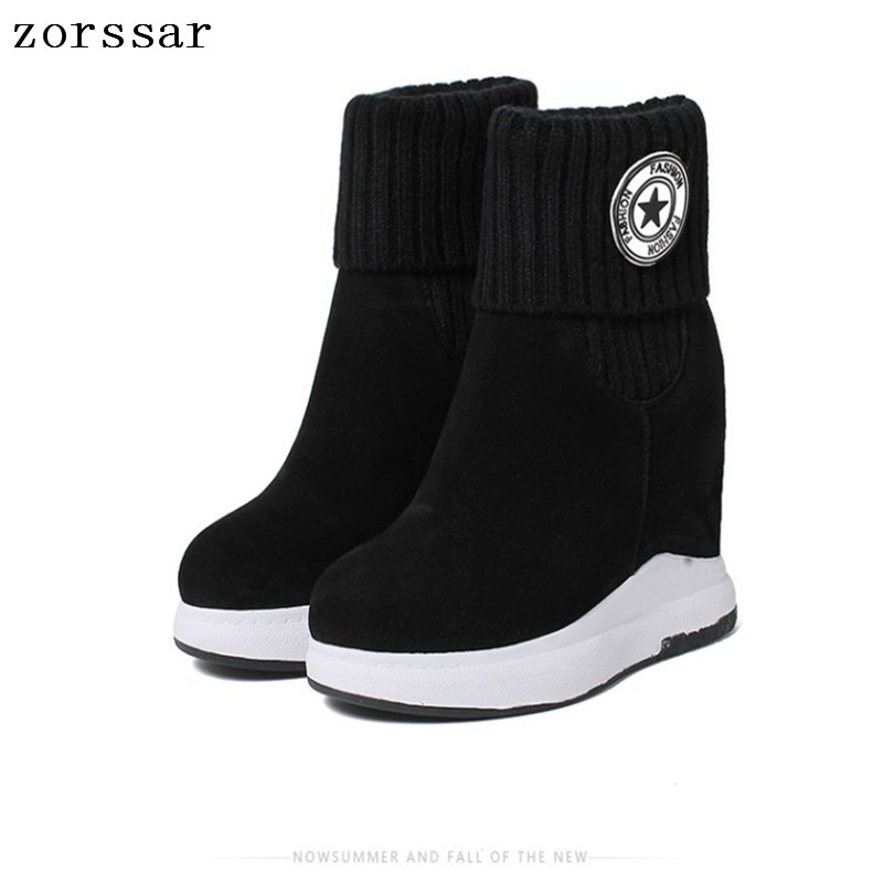 {Zorssar} 2018 winter womens snow boots suede Leather height increasing boots women high heel ankle boots Platform wedges shoes{Zorssar} 2018 winter womens snow boots suede Leather height increasing boots women high heel ankle boots Platform wedges shoes