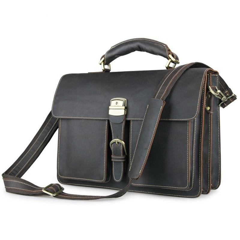 Great Vintage Crazy Horse Leather Men Business Handbag Cowhide Male Briefcase Big Capacity Tote Bag Fit 15 Inch Laptop PR077164